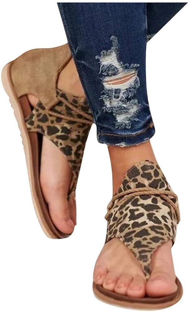 Sandals for Women Flat,2020 Posh Gladiator Comfy Sandals Ladies Leopard Flat Heel Slip On Sandals Casual Vintage Shoes