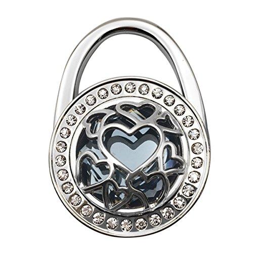 Heart Shape Hollow Pattern Foldable Purse Hanger Handbag Table Hook Holder (Grey)