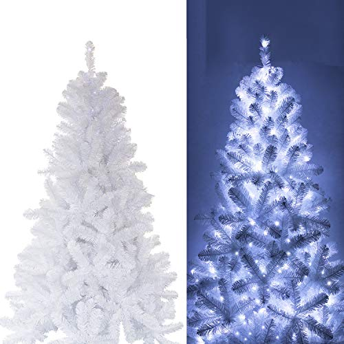 White Christmas Tree With Blue Lights.Ki Store Artificial Christmas Tree With Decoration Ornaments Blue And White Christmas Theme Decorations Including 7 Feet Full Christmas Tree 166pcs