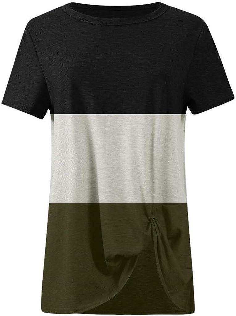 Teresamoon Womens Lightweight Color Block Short Sleeve Loose Fit Knot Tunics Shirts Tops