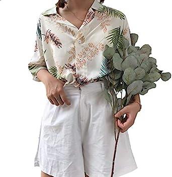 Blusa de Manga Corta Suelta Casual para Mujer Camisa de Verano para Vacaciones Estilo Hawaiana Camisa de Playa Estampado de Plantas Hojas y Flores (Blanco con Rosa, único): Amazon.es: Ropa y accesorios