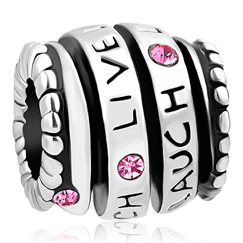 (ReisJewelry Live Love Laugh Charm Trinity Ring Spiral Charms Bead for Bracelet (Sprial Pink))
