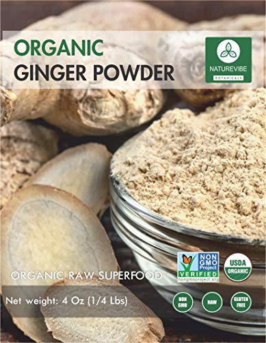 Naturevibe Botanicals Organic Ginger Powder (1/4lb), Zingiber officinale Roscoe | Non-GMO verified, Gluten Free and Kosher