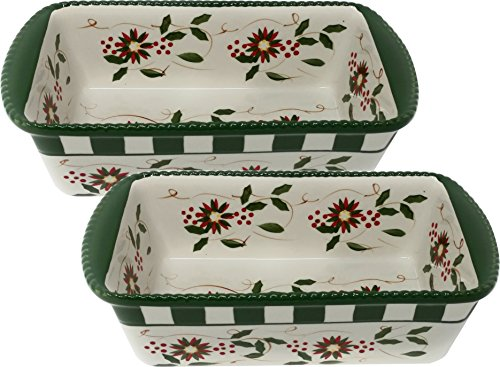 Temp-tations Set of 2 Loaf Pans for Meat Loafs or Breads 1.75 Quart Each (Vivid Old World Poinsettia)