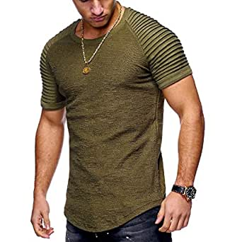 Howely Men's Short Sleeve Gym Training Slim Fit Tennis Shirts Jersey Army Green 2XL