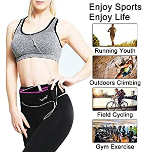 CyberDyer Running Belt Waist Pack - Adjustable Fanny Pouch for Runners Hands Free Workout - iPhone 6/7 Plus Hiking Gear Marathon for Men and Women (Black(Rose))