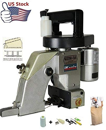 iKonix Industrial Portable Bag Closer Sack Closing Stitching Sewing Machine Auto Lub