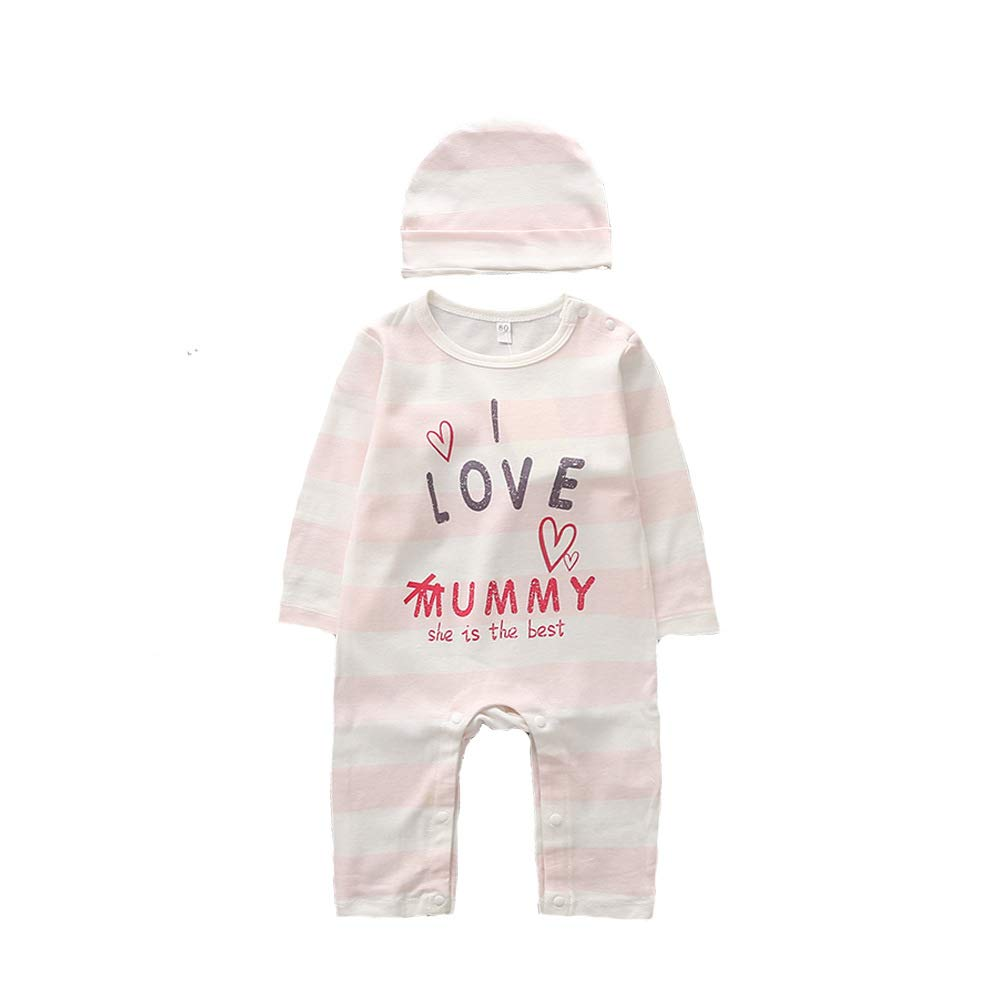 Boys O-Neck Long Sleeve Letters Print 100/% Cotton Rompers with Free Cap