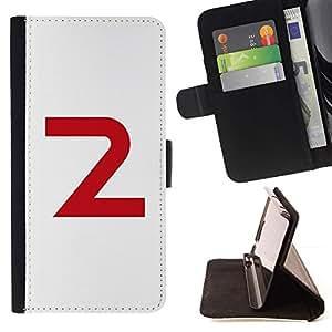 Momo Phone Case / Flip Funda de Cuero Case Cover - 2 Carta Número Segunda minimalista - Samsung Galaxy Core Prime