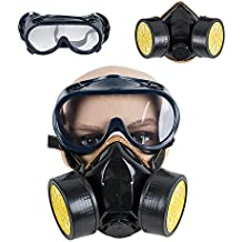 Funwill Protection Filter Dual Gas Mask Chemical Gas Anti Dust Paint Respirator Face Mask with Goggles Industrial Safety Emergency Survival Safety Respiratory Gas Mask Dual Protection Filter