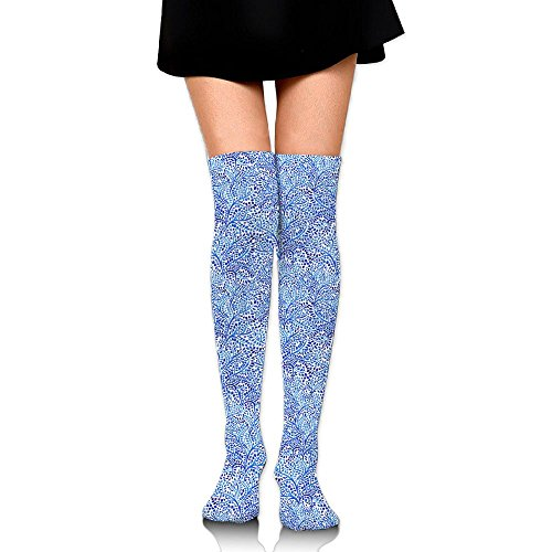 Men Women Indonesia Tree Floral Over Knee Long Socks Crew Running Stocking Athletic Outdoor Sports - Store Online Indonesia