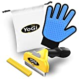 Dog Brush for Shedding and Pet Grooming Glove by YoGi Prime - Pets deShedding tools for dogs and cats, Groom your babys with this fantastic grooming set and they will be happy. Fit to all pet sizes. 4' inch brush. Dogs groomer hair remover kit for long and short hair. No More shedding hair everywhere around the house and car.