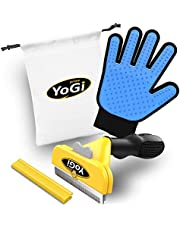 Dog and Cats Brush for Shedding - Pet Grooming Glove - Pets deShedding tools for dogs and cats, Groom your babys with this fantastic grooming set and they will be happy. Fit to all pet sizes. 4' inch brush. Dogs groomer hair remover kit for long and short hair. No More shedding hair everywhere around the house and car.