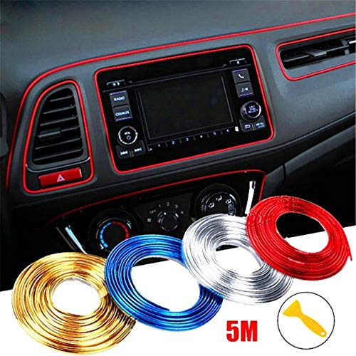 WICHEMI Car Interior Motor Exterior Decoration Moulding Trim Strip Line Sticker DIY Automobile Air Outlet Dashboard Decoration 3D Car Styling Molding Strip 5 Meters Red (Interior Car Decorations)