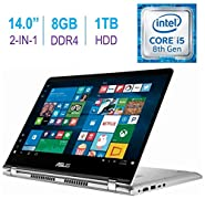 Newest ASUS 14.0-inch 2-in-1 Touchscreen FHD (1920x1080) Laptop PC, Intel i5-8250U up to 3.4GHz, 8GB DDR4 SDRAM, 1TB HDD, Fingerprint Reader, Windows Ink Capable, Backlit Keyboard, Windows 10