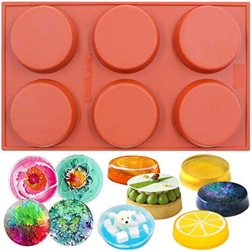 Funshowcase 6-Cavity Mini Disc Cake Pie Custard Tart Resin Coaster Silicone Mold 3-inch Small Fluted (Mold Round Bread)