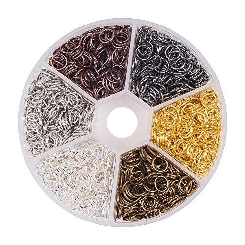 Pandahall 1 Box (About 1800PCS Assorted 6 Colors Open Iron Jump Rings for Jewelry Making Accessories Nickel Free, 6x0.7mm