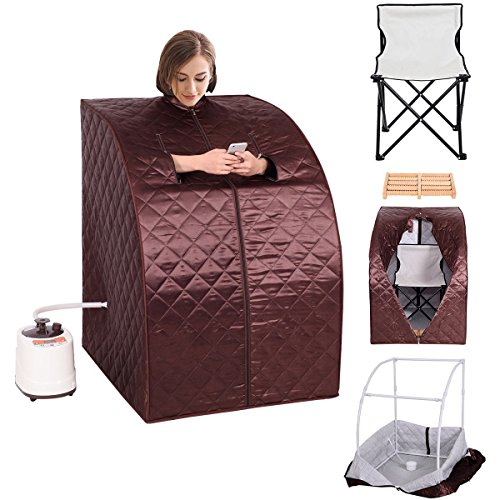 Portable 2L Steam Sauna with Chair - Coffee by Apontus
