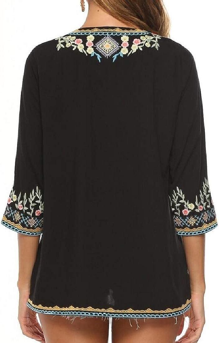 CYJ-shiba Blusa Tipo túnica con Bordado de Camisa Bohemia Mexicana para Mujer - Negro - X-Large: Amazon.es: Ropa y accesorios
