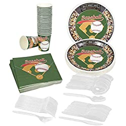 Juvale Baseball Party Supplies – Serves 24 – Includes Plates, Knives, Spoons, Forks, Cups and Napkins. Perfect Baseball Birthday Party Pack for Kids Baseball Sport Themed Parties.