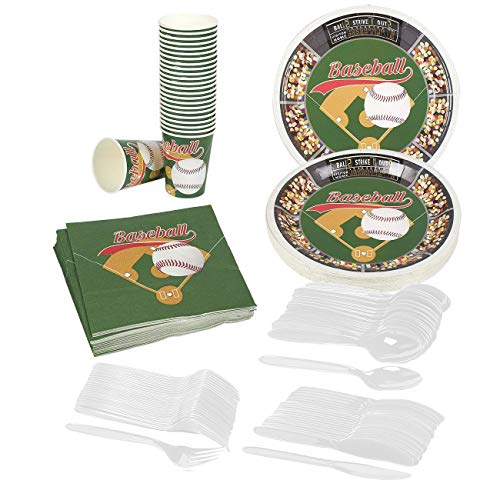 Juvale Baseball Party Supplies – Serves 24 – Includes Plates, Knives, Spoons, Forks, Cups and Napkins. Perfect Baseball Birthday Party Pack for Kids Baseball Sport Themed Parties. -