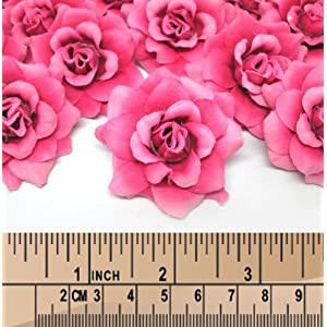 "(100) Silk Fuchsia Roses Flower Head - 1.75"" - Artificial Flowers Heads Fabric Floral Supplies Wholesale Lot for Wedding Flowers Accessories Make Bridal Hair Clips Headbands Dress 2"
