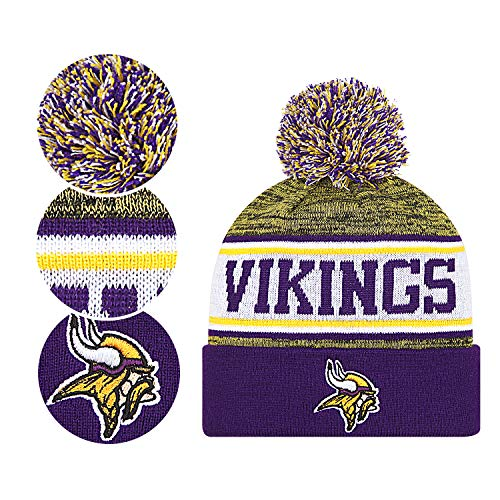 Minnesota Vikings Winter Hat (Fans Hats Winter Knit Cuffed Stylish Beanie Knit Cap Sport Hats Fashion Toque Cap for Gift for Unisex Men Women Indoor and Outdoor, Festival, Holiday, Celebration, Parties, Bar (Minnesota)