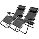 XtremepowerUS Zero Gravity Adjustable Reclining Chair Pool Patio Outdoor Lounge Chairs w/ Cup Holder - Set of Pair (Black)
