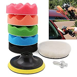 Drill Buffer, Mothers Mag and Aluminum Polish, Car polishing Wax Buffing Polishing Pad Kits-7PCS 4 inch Sponge and Woolen Polishing Pads