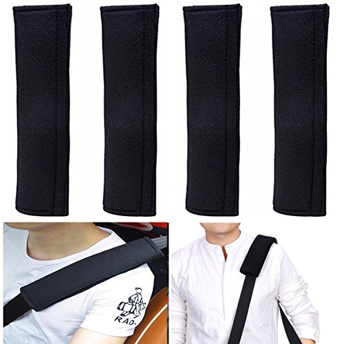ilyever 4 Pack Universal Car Safety SeatBelt Shoulder Strap Pad Soft Headrest Neck Support Pillow Cover Cushion,No Slip,No Rubbing - A Must Have for All Car Owners for a More Comfortable Driving Car Seat Belt Cover Pad