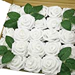 Jing-Rise-Artificial-Roses-flowers-50PCS-Fake-Roses-for-DIY-Wedding-Bridal-Bridesmaids-Bouquets-Floral-arrangement-Baby-Shower-Centerpiece-Corsage-Cake-Flower-Birthday-Party-Decoration-White