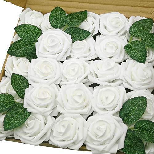 - J-Rijzen Jing-Rise Artificial Flowers 50pcs Real Touch White Fake Flowers with Stem for DIY Wedding Bouquet Baby Shower Home Decorations (White)