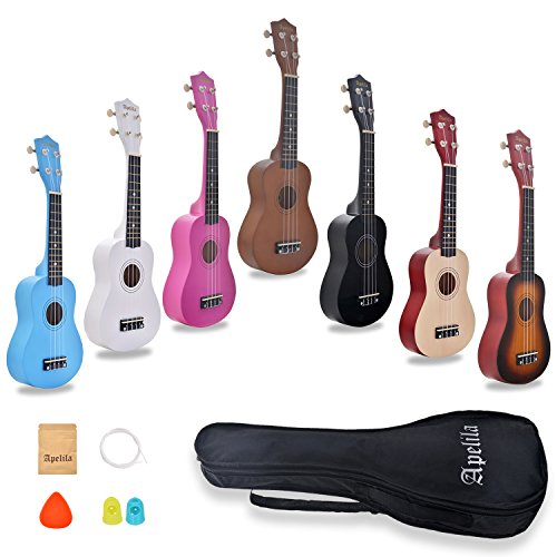 Apelila 21 inch Soprano Ukulele Hawaiian Acoustic Mini Guitar Musical Instrument with Bag, Pick, Strings, for Beginner, Kids, Starter, Amateur (Sunburst)