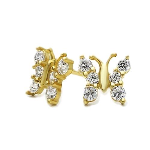 14K Yellow Gold Butterfly Screwback Stud Earrings