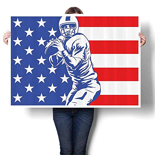 Panels Wall Art Waves Painting on Canvas Ball Champiship Themed Player Throwing Ball USA Flag Background Paintings for Wall Decor,44