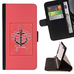 Momo Phone Case / Flip Funda de Cuero Case Cover - T'Aime te amo Pink Anchor Text - Samsung Galaxy Note 5 5th N9200
