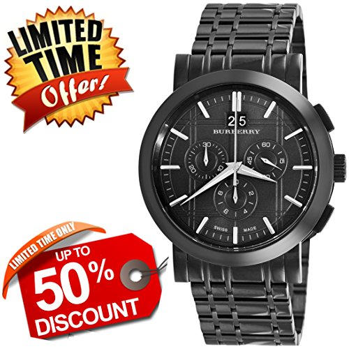 Burberry Heritage SWISS LUXURY Round Stainless Steel Chronograph 40mm Black Date Dial Men Unisex Women Watch BU1385