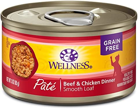 Wellness Complete Health Natural Grain Free Wet Canned Cat Food Pate Recipe Beef Chicken Pate