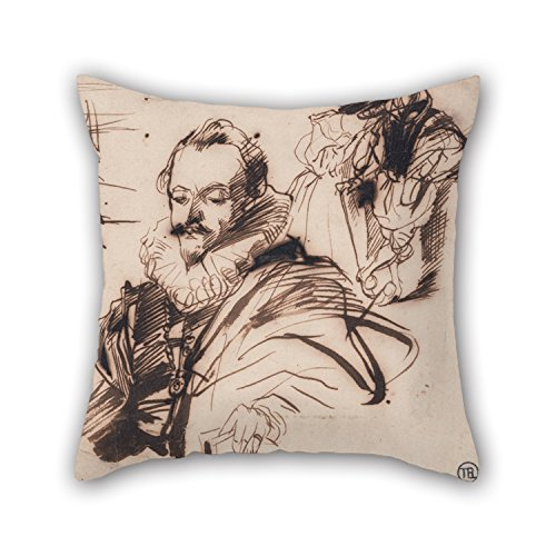 Slimmingpiggy The Oil Painting Richard Parkes Bonington - Study Of A Gentleman In 17th Century Costume, After Van Dyck Cushion Covers Of 18 X 18 Inches / 45 By 45 Cm Decoration Gift For Dining Room