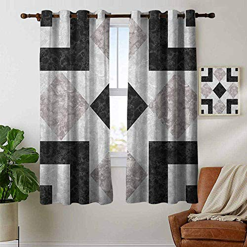 - petpany Thermal Insulated Blackout Curtain Marble,Nostalgic Marble Stone Mosaic Regular Design with Alluring Elements Artwork Print, Black Beige,Blackout Draperies for Bedroom Living Room 52