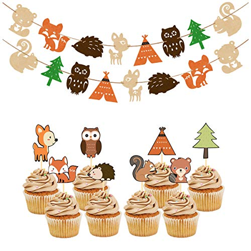 Woodland Party Supplies Set Forest Animal Friends Themed Banner Cupcake Toppers Baby Shower Birthday Party Decorations by Yaaaaasss!