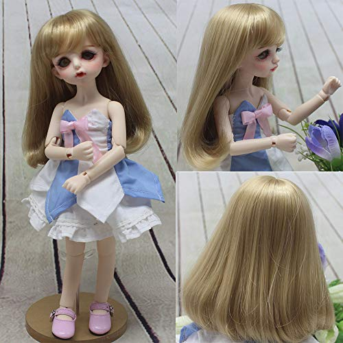 6-7 Inch 16-17CM Lovely Syntheitc Mohair Doll Wigs Lati Yellow Doll Accessories Peach Pink Double Little Long Curly/Bangs Pony BJD Wigs