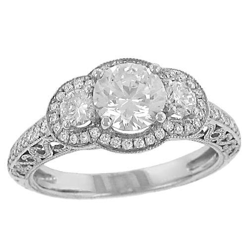 3 Stone Pave Diamond Halo Style Engagement (3 Stone Pave Diamond)