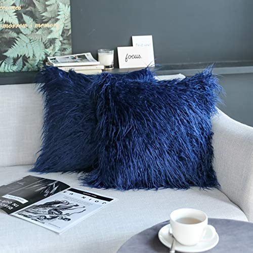 Kevin Textile Set of 2 Decorative New Luxury Series Merino Style Navy Blue Fur Fuzzy Throw Pillow Case Cushion Cover Pillow Cover for Bed, 20