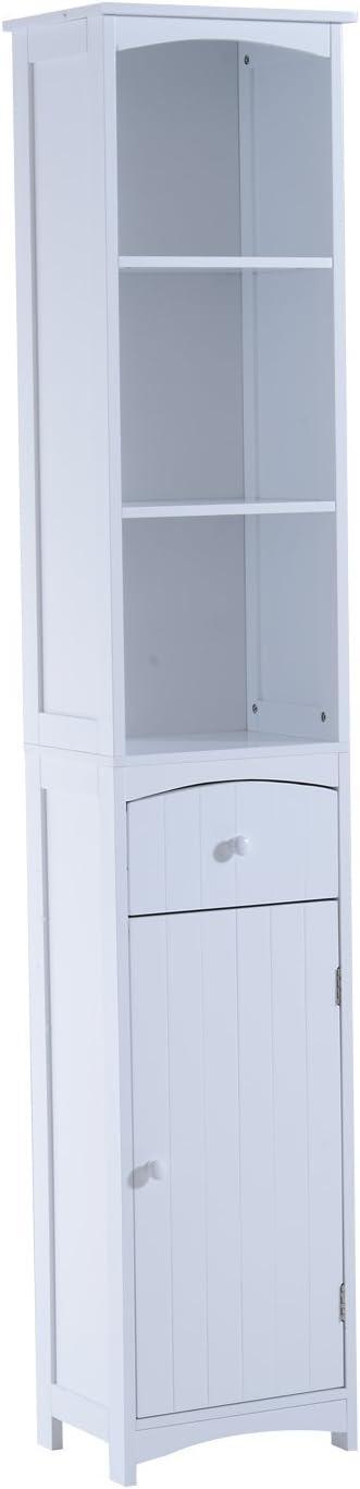 HOMCOM Mueble Armario Multiusos Blanco para Cuarto de Baño con Estanterías 34x24x170cm 3 Estantes 1 Puerta y 1 Cajón