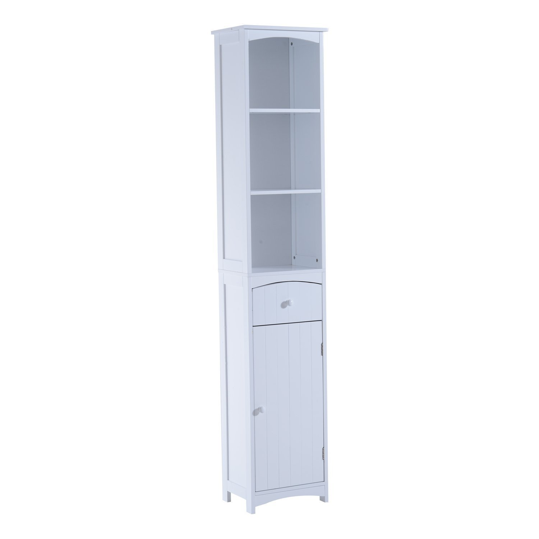 HomCom 67'' Free Standing Bathroom Storage Cabinet - White