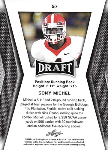super popular e6aa6 feece Amazon.com: 2018 Leaf Draft #57 Sony Michel Georgia Bulldogs ...