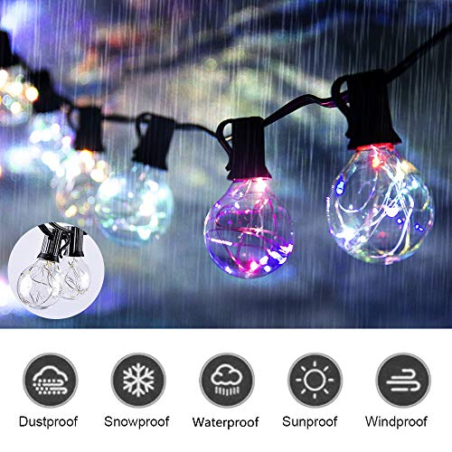 ECOWHO 30 LED Globe String Lights with G40 Light Bulbs UL Listed 32FT Indoor Outdoor Patio Garden Lawn Use (Multicolor Globe String Lights (Multicolor G40)