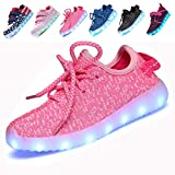 4a Z9AJKAJ Boys Girls 7 Colors LED Luminous Knit Sneakers Fashion USB Charging Light Shoes 1 M US Little Kid,Pink