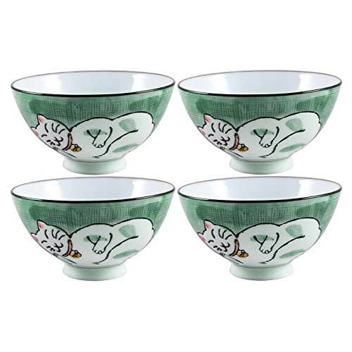 (Green Porcelain Sleeping Kitty Cat Asian Rice Bowl, Set of 4)